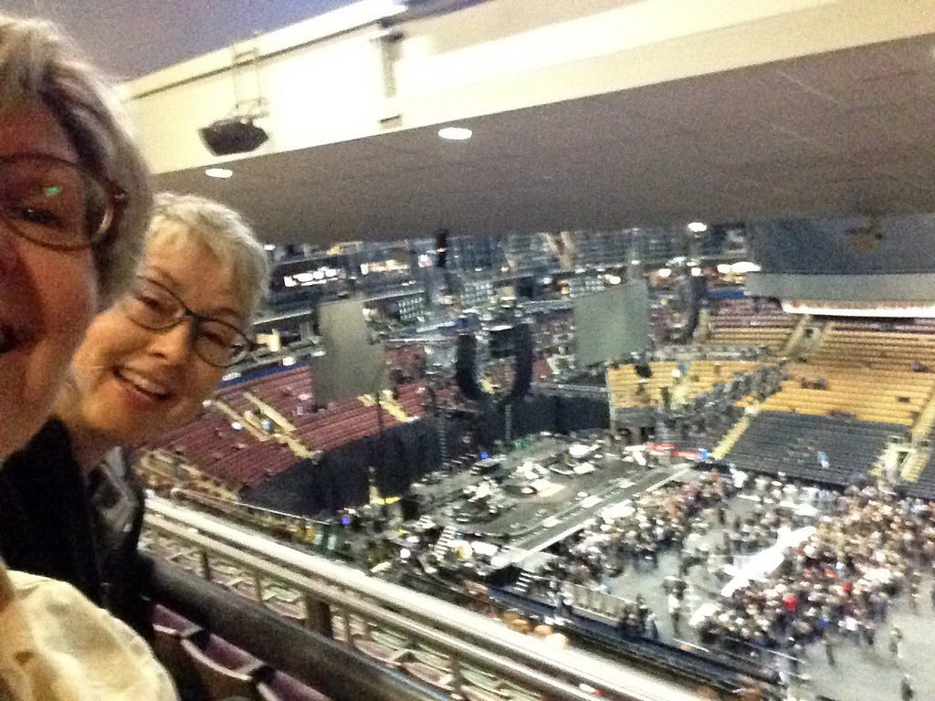 Trish and Sharon up in the rafters at the Air Canada Centre
