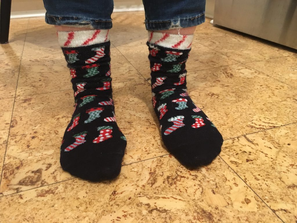 socks with christmas decorations