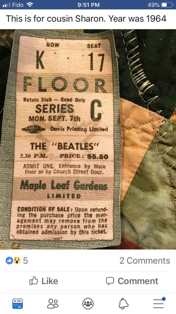 picture of a Beatles concert ticket from 1964 in Toronto