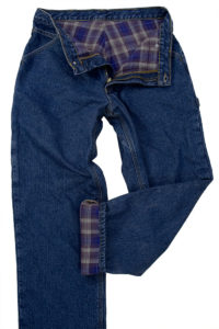 pair of blue jeans with flannel lining