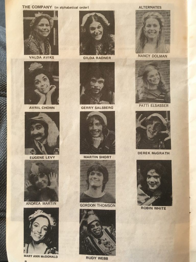 Cast pictures of Godspell Toronto 1972