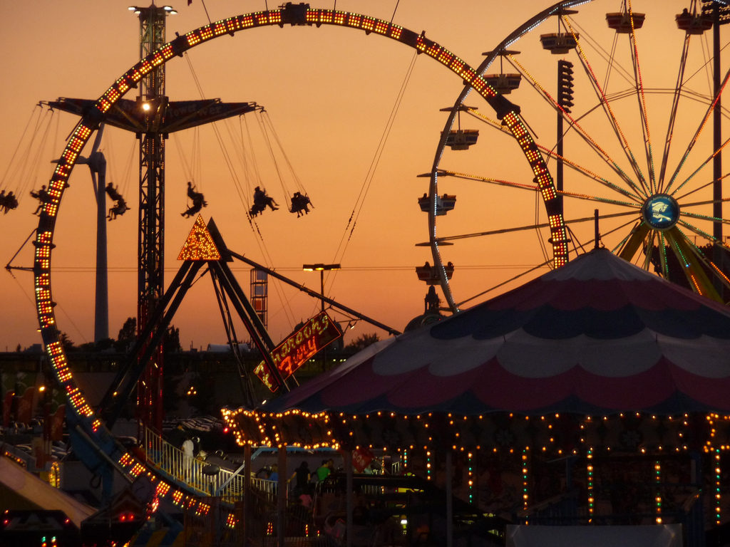 Canadian National Exhibition midway at night