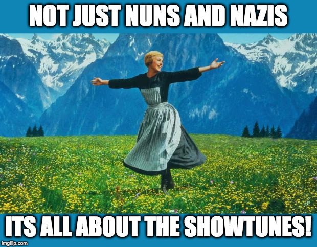 comical picture of julie andrews on the mountain