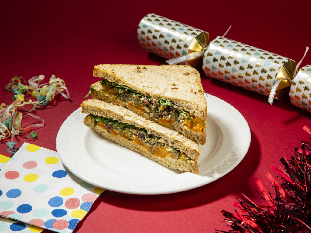 sandwich with festive accessories
